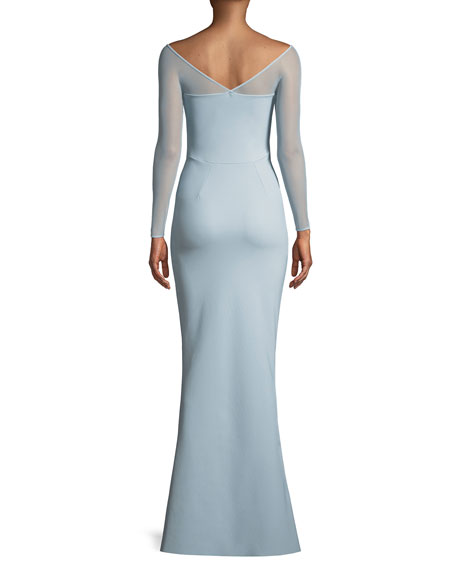 Saori Illusion Long-Sleeve Gown w/ 3D Rose