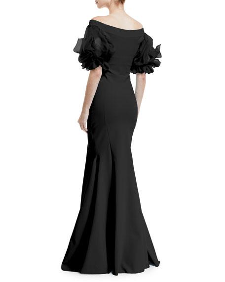 Delina Organza-Sleeve Trumpet Gown