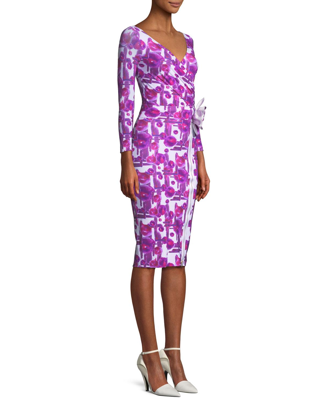 60048f07 Chiara Boni La Petite Robe Anika Printed Cocktail Dress with 3D Flower    Neiman Marcus