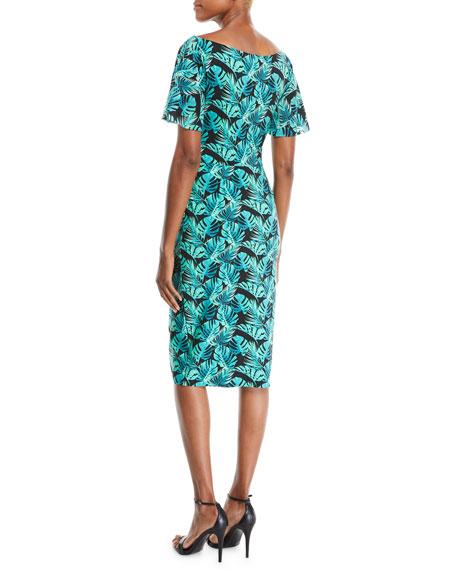 Floral-Print Ruffle-Sleeve Cocktail Sheath Dress