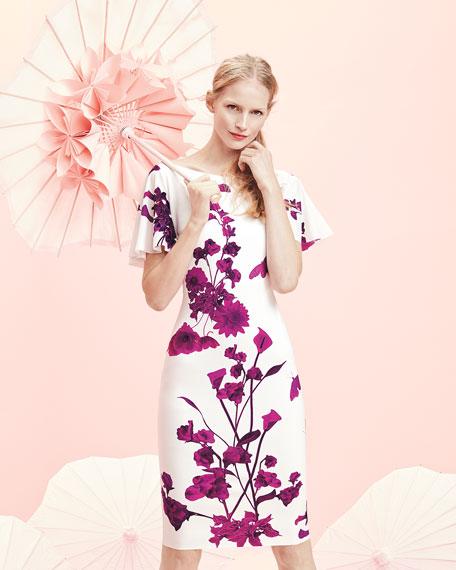 Arifa Floral-Print Ruffle-Sleeve Cocktail Sheath Dress