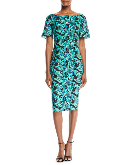 Chiara Boni La Petite Robe Floral-Print Ruffle-Sleeve Cocktail