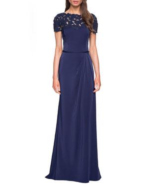 6d99f85edc La Femme Laser-Cut Flower Jersey Short-Sleeve Gown