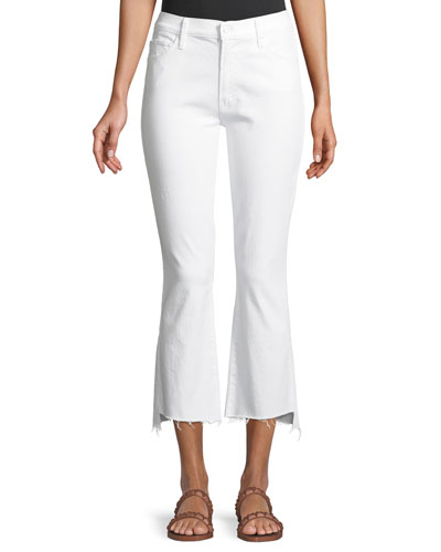 Insider Cropp Step Fray Distressed Jeans, White