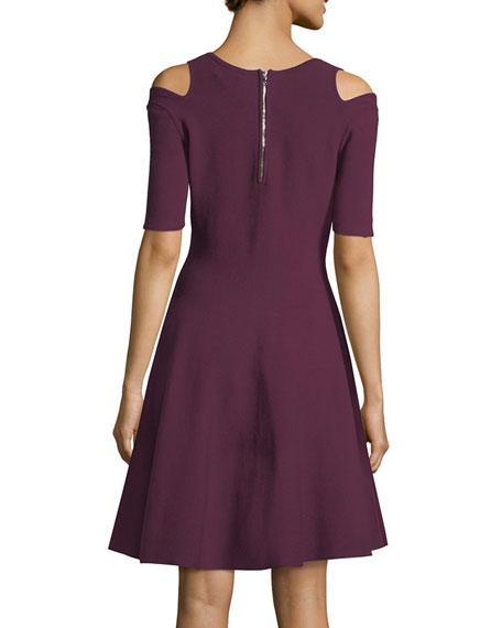 Slit-Shoulder Fit-&-Flare Dress
