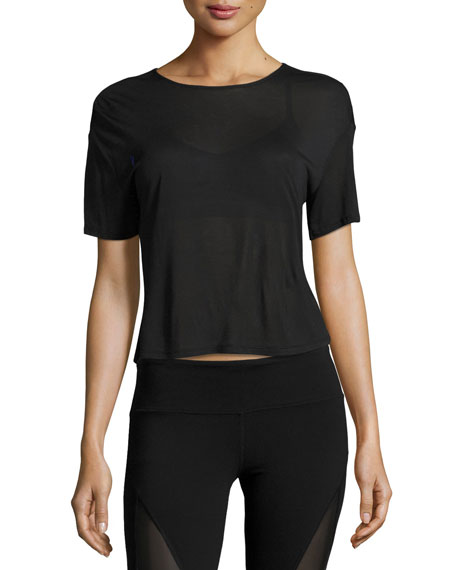 Alo Yoga Entwine Short-Sleeve Lace-Back Athletic Top