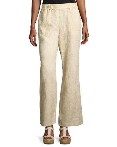 Linen Wide-Leg Pants, Plus Size
