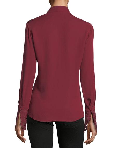 Maura Pleated Long-Sleeve Stretch-Silk Blouse