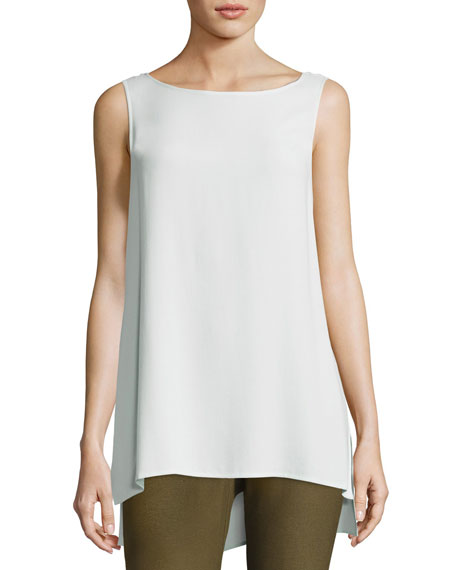 Eileen Fisher Sleeveless Silk Long Shell, Plus Size