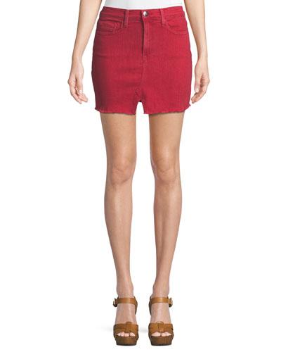 Le Mini Slit-Front Denim Skirt