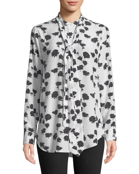 Carleen Tie-Neck Floral-Print Silk Blouse