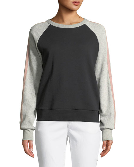 7 for all mankind Crewneck Raglan Colorblocked Sweatshirt