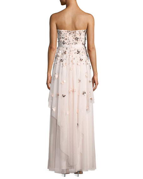 Floral-Detail Strapless Gown
