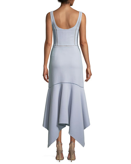 Seersucker Handkerchief Bustier Midi Cocktail Dress