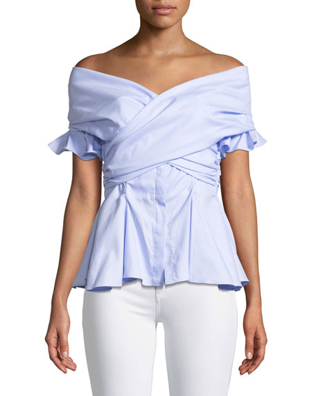 Jonathan Simkhai Wrapped Hook-Back Off-the-Shoulder Peplum Oxford