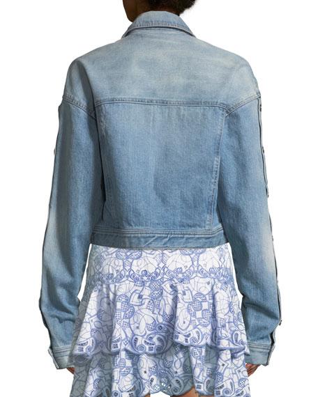 Button-Down Denim Cropped Jacket