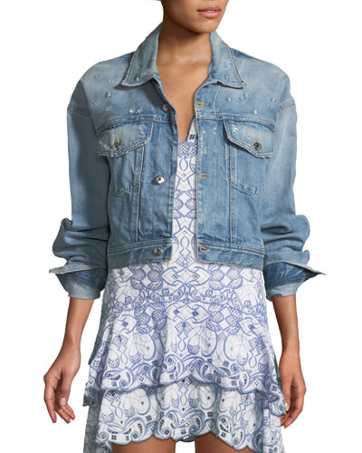 Button-Down Denim Cropped Jacket