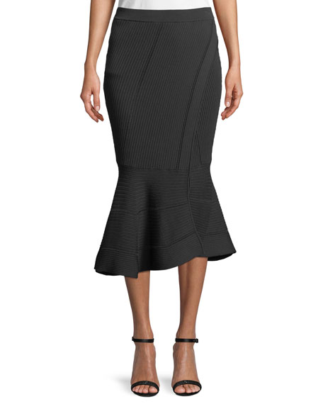 Linked Rib-Knit Fit-and-Flare Midi Skirt