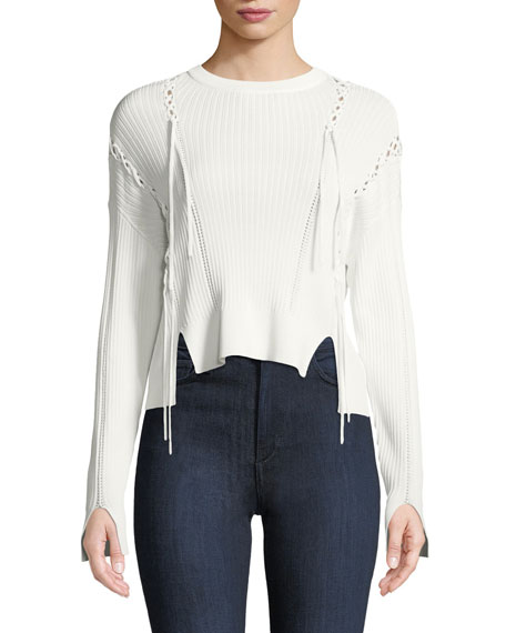 Jonathan Simkhai Linked Rib-Knit Long-Sleeve Sweater with Lace-Up