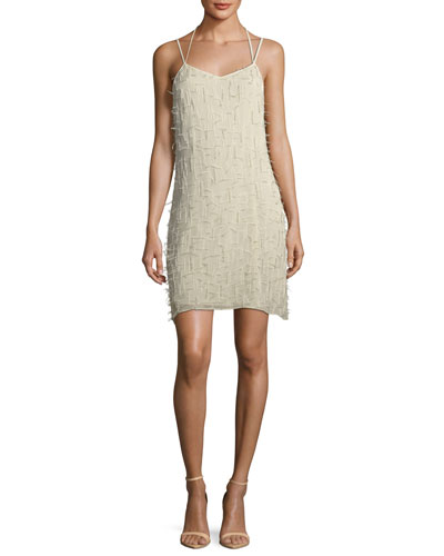 Winds Of Change Beaded Feather Slip Dress