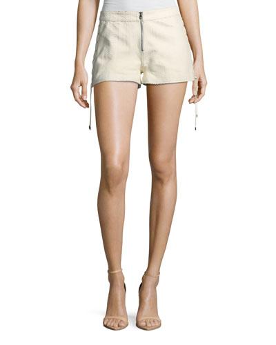 Rattlesnake Snake-Print Leather Lace-Up Side Shorts
