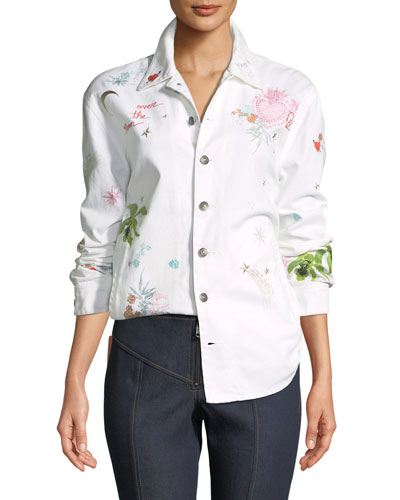 Whimsical Canyon Button-Front Embroidered Denim Jacket