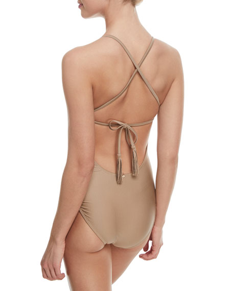Farrah Scoop-Neck Colorblocked One-Piece Swimsuit