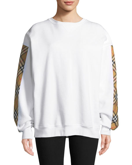 Burberry Camilla Satin-Check-Panel Sweatshirt