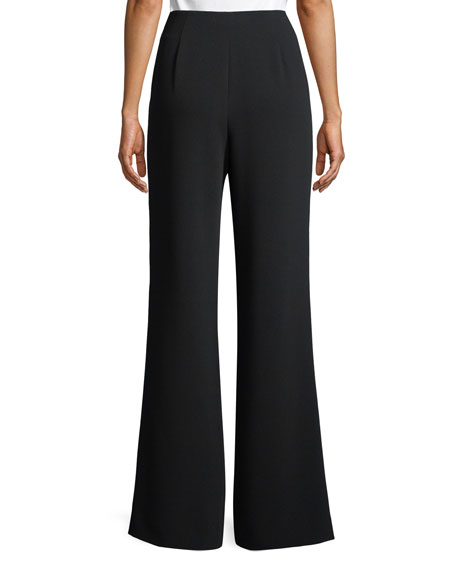 Nica Lace-Up Flared Crepe Pants