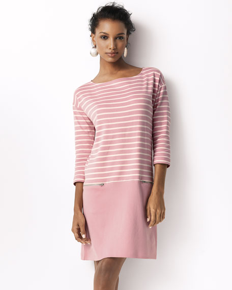 Striped Interlock Dress w/ Zip Pockets, Petite