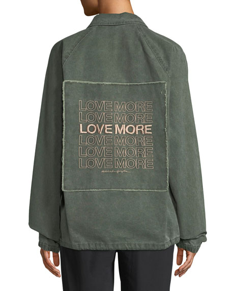 Love More Denim Army Jacket by Spiritual Gangster
