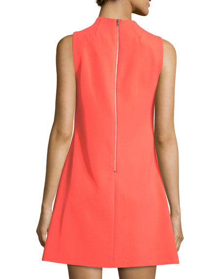 Coley Mock-Neck Sleeveless A-Line Dress