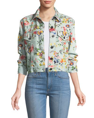 Chloe Floral-Print Cropped Denim Jacket