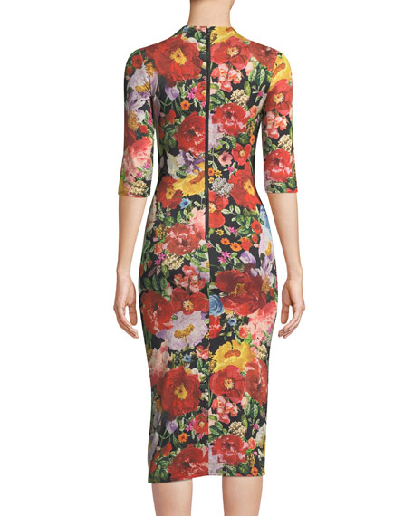 Alice + Olivia Delora Mock-Neck Fitted Sheath Dress
