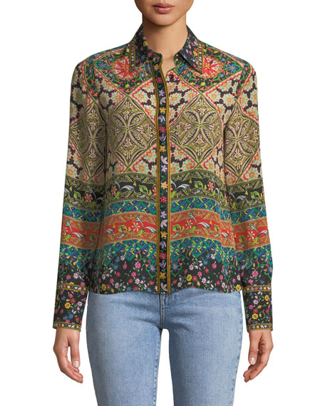 Alice + Olivia Willa Long-Sleeve Button-Front Mixed-Print Silk