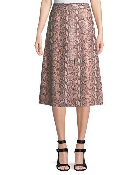 Romi Snake-Print Leather Midi Skirt