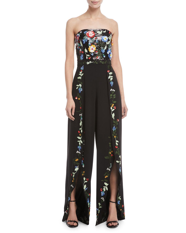8ffce0cddc1 Alice + OliviaJeri Strapless Wide-Leg Embellished Sequin Tulip-Hem Jumpsuit