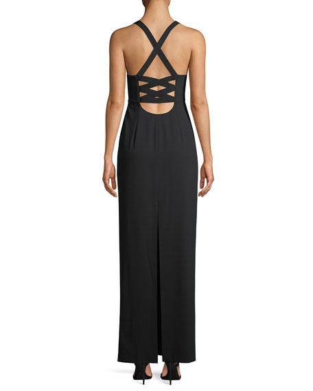 Brianna Sleeveless Side-Ruched Satin Maxi Dress