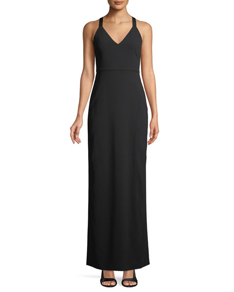 Alice + Olivia Brianna Sleeveless Side-Ruched Satin Maxi