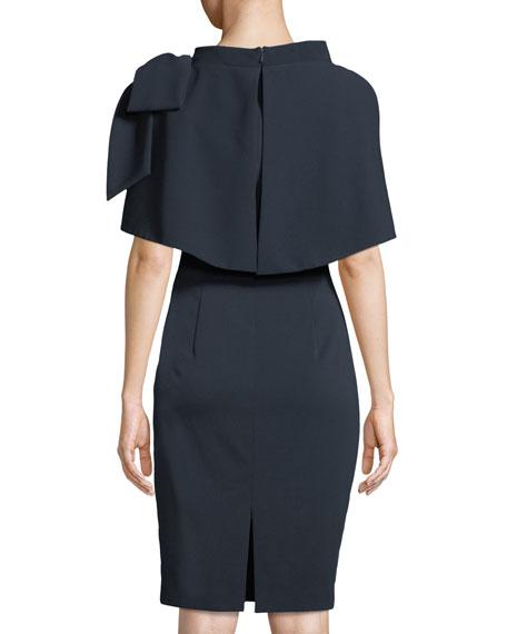 Capelet Bow-Shoulder Popover Sheath Dress