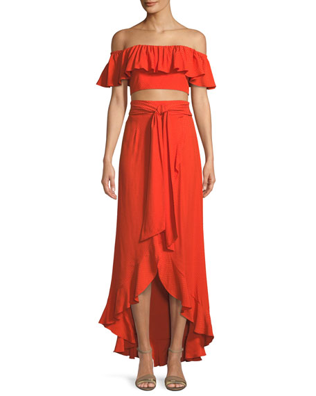 Jay Godfrey Ruffle Crop Top & A-Line Wrap