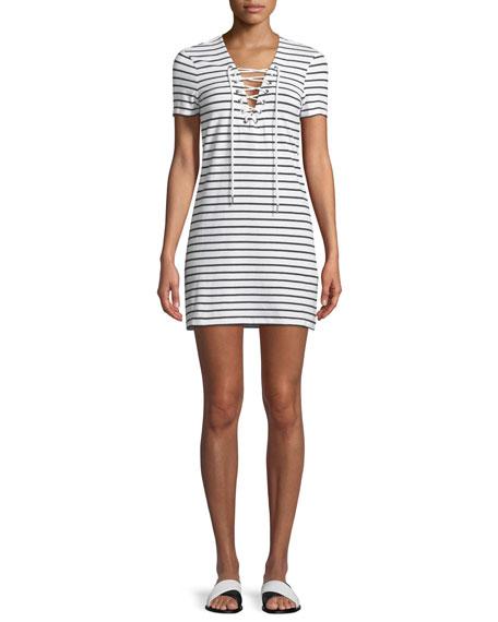 Short-Sleeve Lace-Up Shirtdress