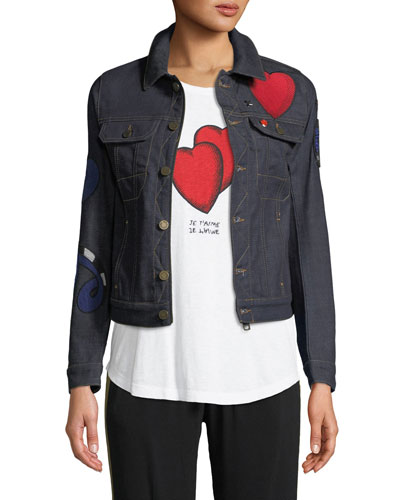 Kioky Brode Button-Down Embroidered Denim Jacket