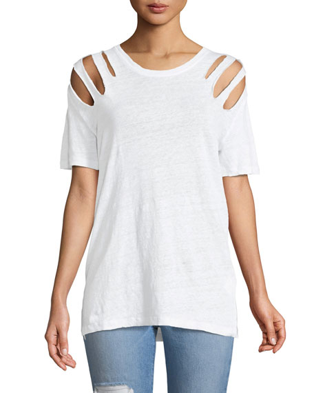 Miffres V-Neck Cold-Shoulder Linen Top