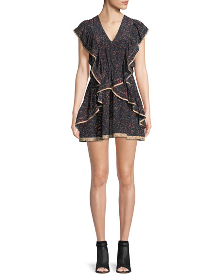 Jicka V-Neck Printed Silk Dress with Ruffled Frills