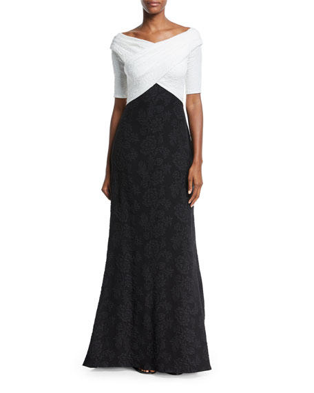 Tadashi Shoji Hammered Crepe Short-Sleeve Gown