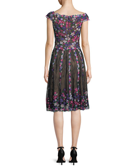 Floral Embroidered Lace Knee-Length Cocktail Dress