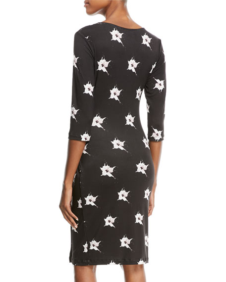 Marine Orchid-Print Jersey Wrap Dress