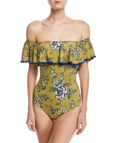 Fernanda Off-the-Shoulder Floral-Print One-Piece Swimsuit