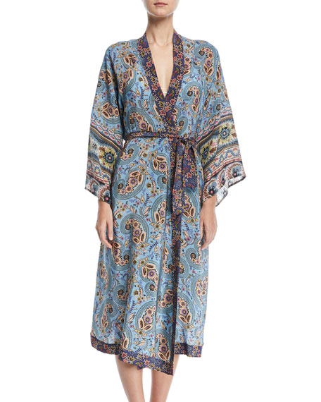 Kandela Belted Long-Sleeve Multi-Print Silk Kimono Coverup